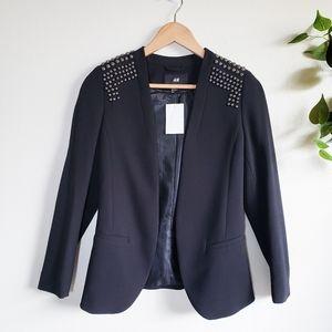 H&M Studded Blazer Open Front Shoulder Studs Jacket Black Size 2